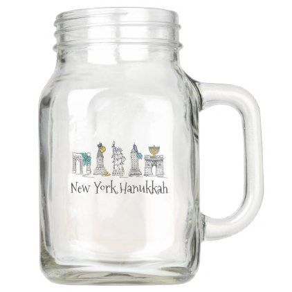 #New York City Hanukkah NYC Jewish Holiday Chanukah Mason Jar - #drinkware #cool #special