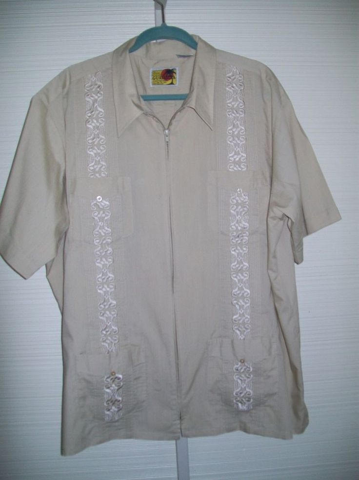 Traditional Guayabera Sz 2x Light Tan Mexican Wedding