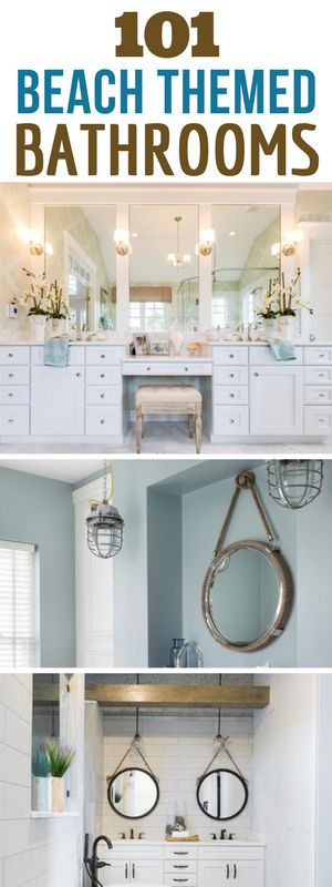 101 BEACH THEMED BATHROOMS! Discover the absolute best beach themed bathroom decor and design inspirations. We love coastal, beach, and nautical bathrooms that feature things like seashells, anchors, starfish, blue colors, and more.