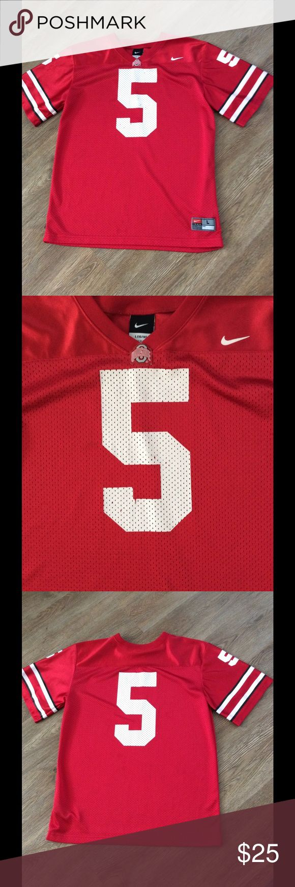 Ohio State football jersey This is a youth Ohio State football jersey with #5. It has the Ohio St logo on the neck of jersey .Item is in great condition Nike Shirts & Tops