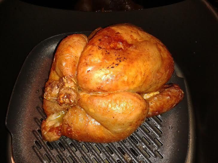 Hele kip. 32 min. op 180 graden op de grillpan