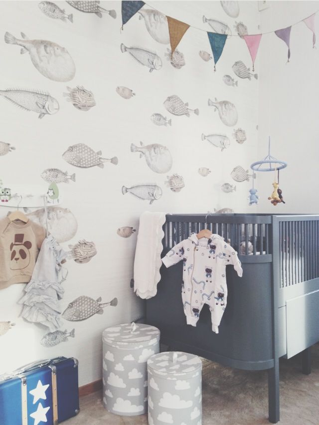 love this fish wallpaper for a nursery or kids room