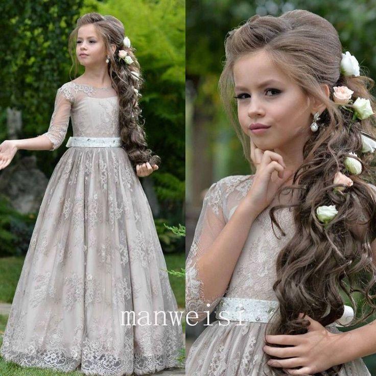 Gray Half Sleeve Kids Flower Girl Dress First Communion Dresses Birthday Wedding…