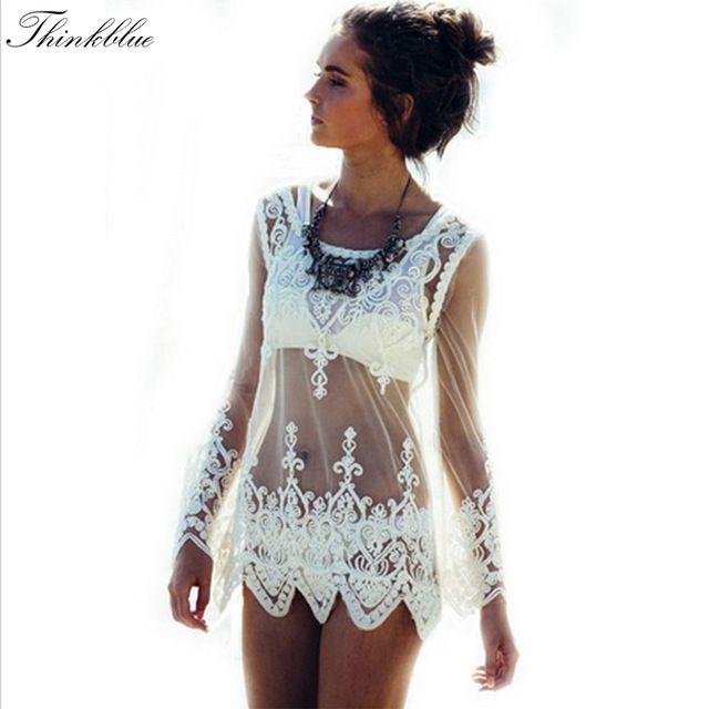 2015 Sexy mulheres blusas See através Crochet Lace blusa manga comprida Beach Swimsuit do biquini tampa Up bordado verão mulheres Tops