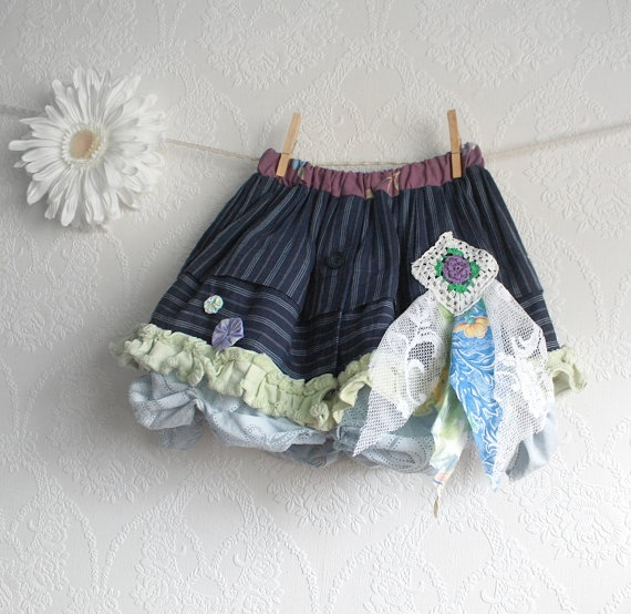 Toddler's Shabby Chic Skirt Girl's 3T Upcycled Clothes Navy Blue Mint Green Children's Clothing Full Bubble Eco Friendly 'BELLA'. $45.00, via Etsy.