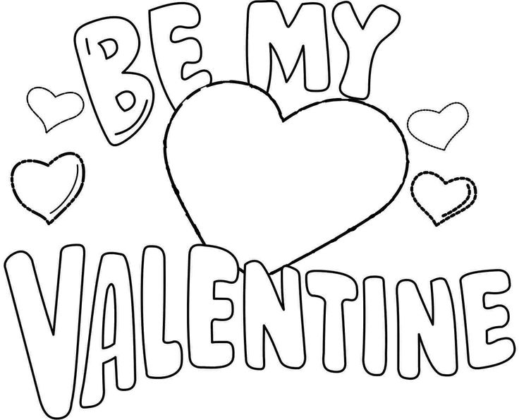 Valentine Coloring Be My Page Printable PrintableFull Size Image