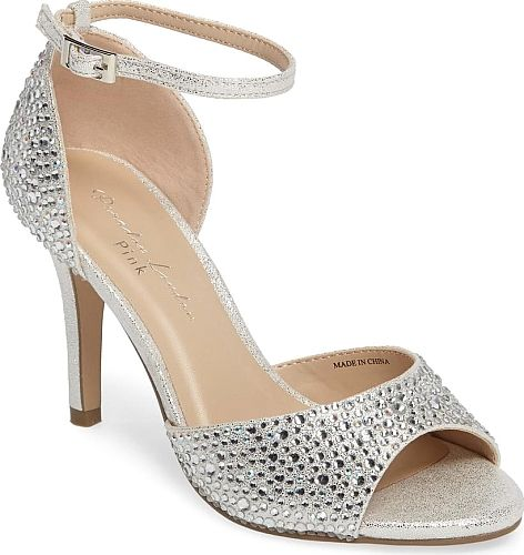 pink paradox London Women's Shoes in Silver Color. Awash in glitter and encrusted in multi-size crystals, this d'Orsay-profile sandal brings radiant shimmer to formal occasions and your favorite partywear alike. #pink #silver #shoes
