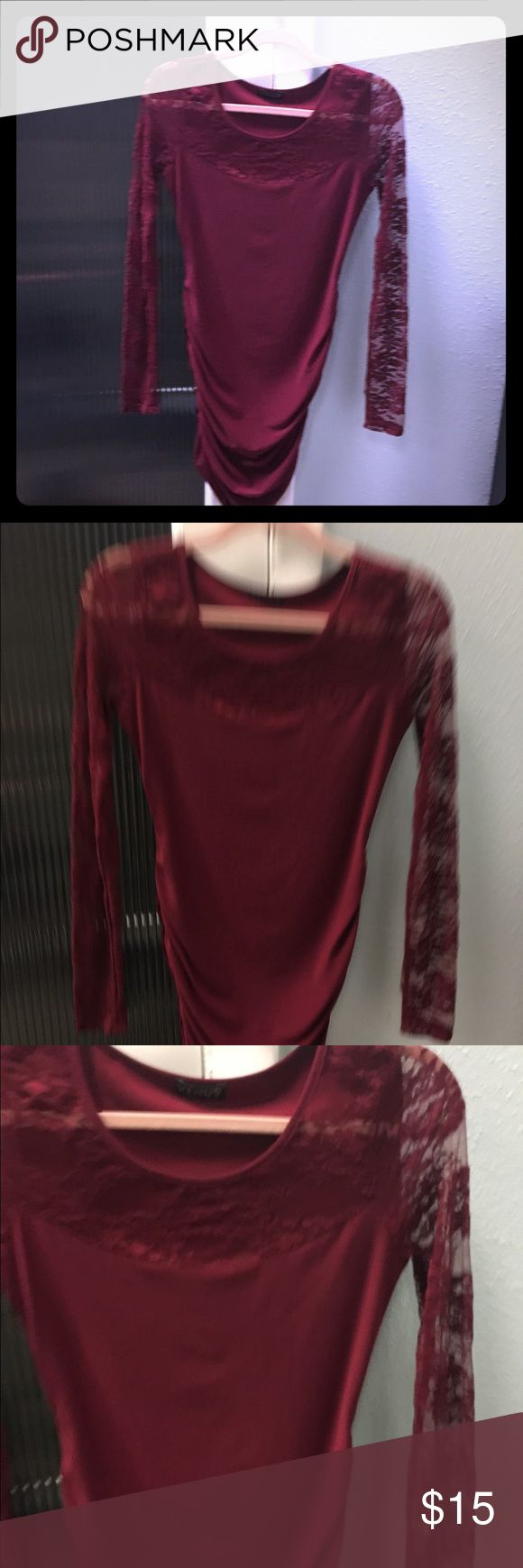 NEVER WORN! Plum colored dress. Plum color dress with long sleeve lace detail. NEVER WORN! Super sexy!!! Venus swimwear Dresses Mini