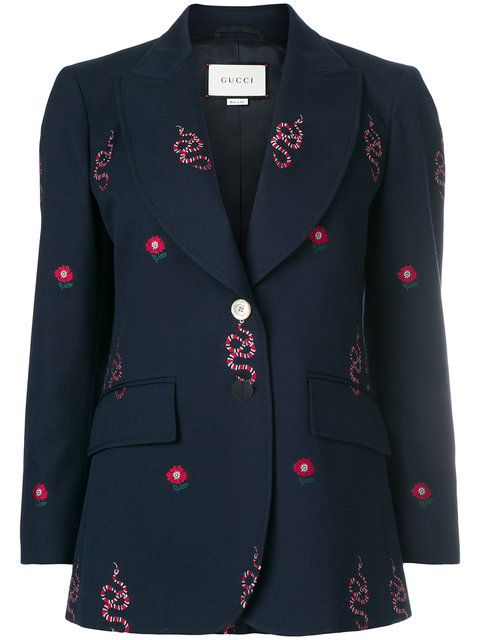 dca6fdf8f Shop Gucci kingsnake and floral embroidered jacket | Coat in 2019 ...