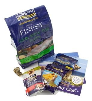 Puppy Food Starter Pack  The pack includes: 1.5kg Fish4Puppies Complete Food Puppy Essentials Booklet 99g Finest Salmon Mousse Pouch 15g Sea Jerky Tiddler Sample   Our Puppy Pack gives you everything you need to give your new puppy the very best start. If you are a Puppy Owner, please select 'Puppy Club Account' when setting up your Fish4Dogs online account to receive discounts on our Puppy Range.
