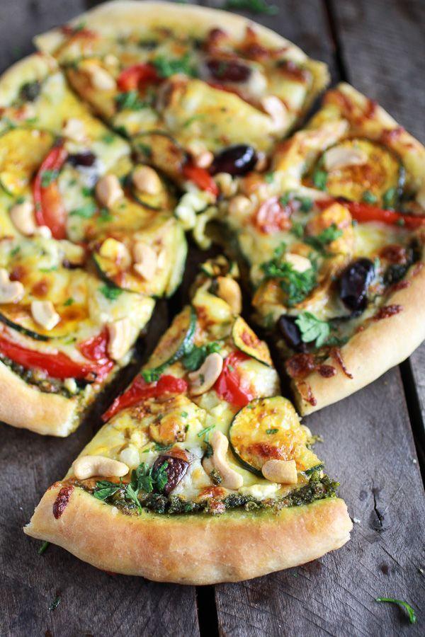 Moroccan Roasted Garlic Pesto and Cashew Pizza | http://halfbakedharvest.com