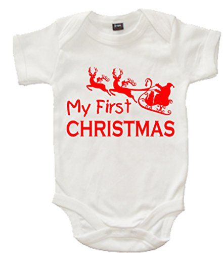 White MY 1ST CHRISTMAS' with Red Print.