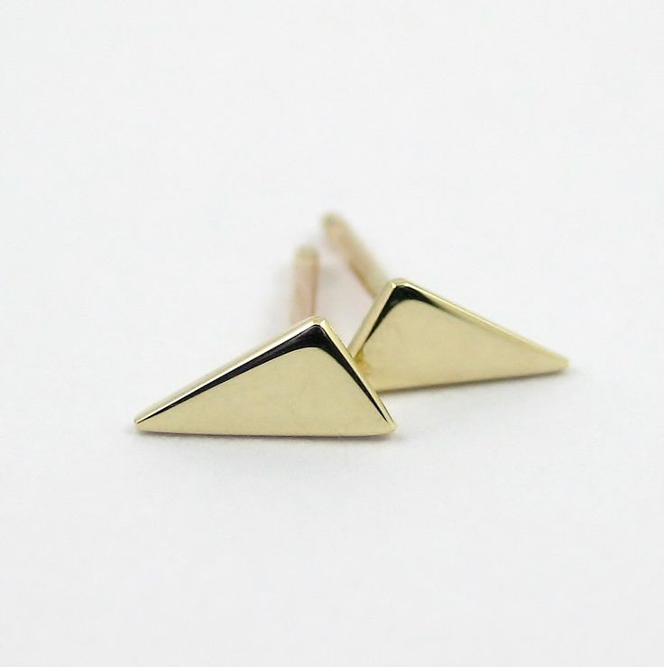 Tiny Triangle Earrings, 9k Gold Triangle Stud Earrings, Geometric Stud Earrings, Simple Gold Earring, Minimalist Earring by PuranaJewellery on Etsy https://www.etsy.com/listing/202722631/tiny-triangle-earrings-9k-gold-triangle