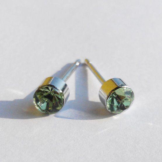 náušnice zelený kamínek