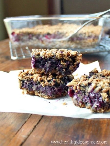 Blueberry Oat Bars - Whole grains and blueberries all wrapped up with deliciousness. Great for a breakfast or an afternoon snack.
