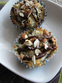Almond Joy Brownie Bites - this actually links to the recipe and not just a photo. 1 box (family size) chocolate fudge brownie mix, plus ingredients for making, 1 (14oz) can sweetened condensed milk, 1 (14oz) bag coconut, 1/4 c. milk, 1 tsp. vanilla extract, 1 c. chocolate chips, 1/4 c. crushed almonds