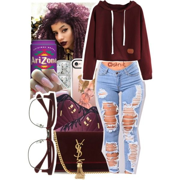 A fashion look from September 2017 featuring red hoodie, high waisted jeans and shoulder handbags. Browse and shop related looks.