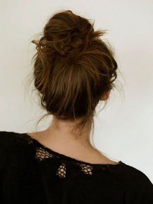 Messy Bun pic #1  I always seem to have a messy look...so I rock this...i have thick and wavy/curly hair!