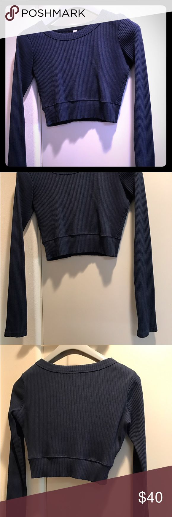 Alo cropped long sleeve sweatshirt Cute, blue, ribbed Alo cropped sweatshirt. Cotton/spandex blend, soft and flattering to your curves! ALO Yoga Tops Sweatshirts & Hoodies