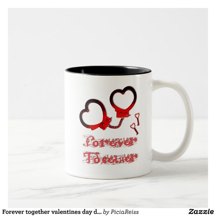 Forever together valentines day design cuffs heart Two-Tone coffee mug