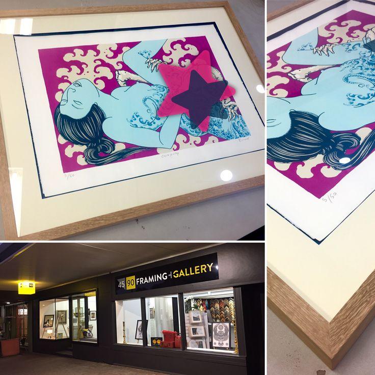 Limited edition silk screen print by Alex Binnie custom framed at 45 90 Framing in an Australian White Oak, float/box frame