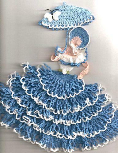 Crinoline Lady Girl Frilly 3D Southern Belle Blue Butterfly Rose Crochet Doily