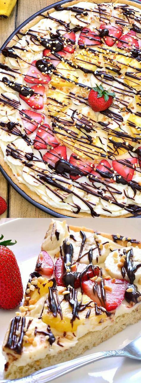 This Banana Split Fruit Pizza from Lemon Tree Dwelling combines two of our favorite things into one delicious dessert that's easy to prepare.