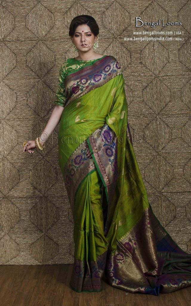 72bad384b1b539 Tussar Silk Banarasi Saree in Parrot Green   Dark Blue