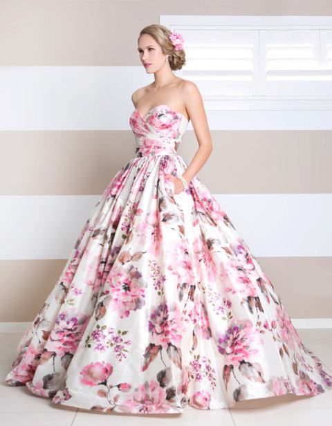 flower print ball gown