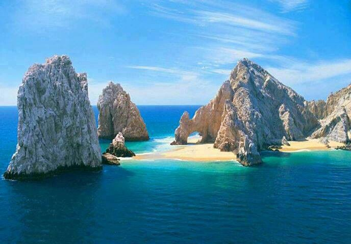 Cabo San Lucas, Mexico.  Great kayaking around these rocks during high tide and walked around them during low tide!