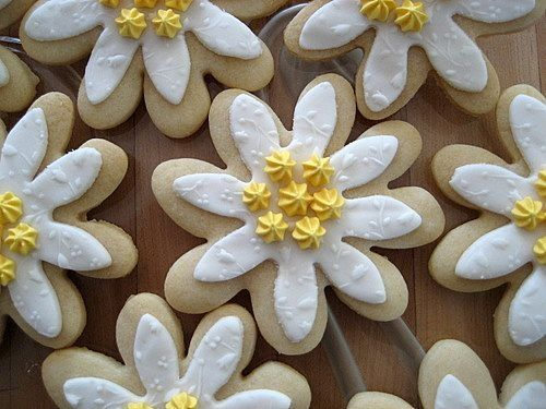 """These are my first NFSC cookies!  I was asked to create Edelweiss cookies for our Annual Ladies Tea, the theme was """"The Sound of Music,"""" so Edelweiss cookies were requested.  I spent the last couple months working on how to do them and learning what they actually looked like.  Thanks to cassiescakes for her design ideas, and her help!  They are NFSC, with MMF, and Yellow Royal Icing.  They were delicious and everyone loved them!"""
