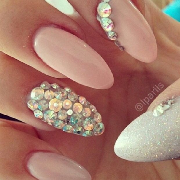Pretty gem stone nails for bride. - 32 Best Almond Nails Images On Pinterest Nail Scissors, Cute Nails