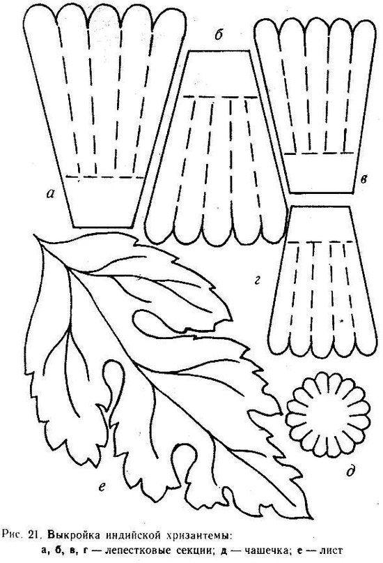 выкройка индийской хризантемы
