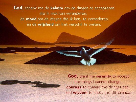 God, schenk me de kalmte om de dingen te accepteren die ik niet kan veranderen,  de moed om de dingen die ik kan, te veranden  en de wijsheid om het verschil te weten.