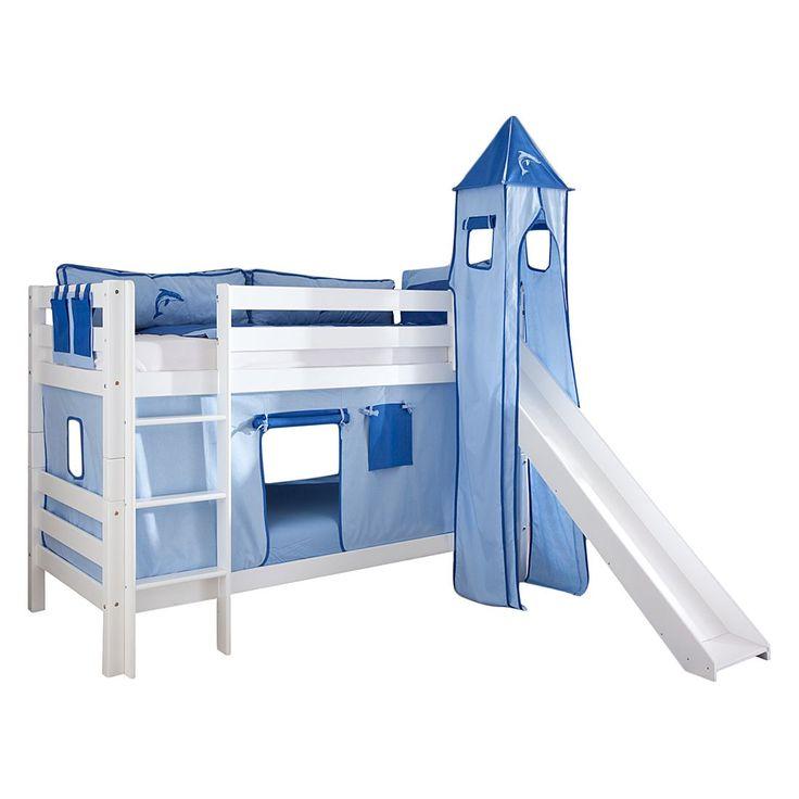 Spielbett Beni - mit Rutsche, Vorhang, Turm und Tasche - Buche massiv weiß lackiert/Textil blau-delfin, Relita Jetzt bestellen unter: https://moebel.ladendirekt.de/kinderzimmer/betten/hochbetten/?uid=602cb954-fb26-5e7f-8cc4-143a86386cc5&utm_source=pinterest&utm_medium=pin&utm_campaign=boards #möbel #kinderzimmer #hochbetten #relita #teens #betten #kids
