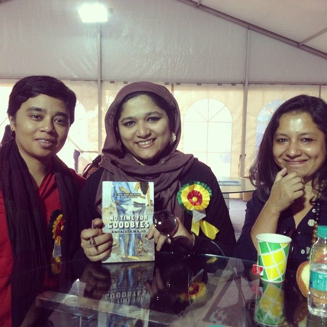 Payal Dhar and Andaleeb Wajid with editor Himanjali Sankar at the Bookaroo Lit Fest 2014!