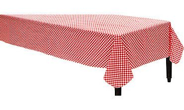 Picnic Red Gingham Flannel-Backed Vinyl Table Cover  Party City