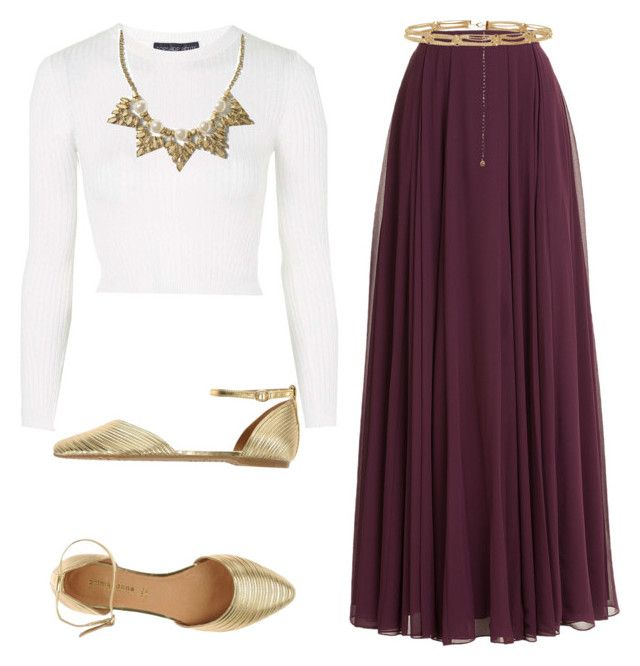 """Burgundy maxi skirt outfit"" by esteisyperez on Polyvore featuring Halston Heritage, Topshop, PrimaDonna and Banana Republic"