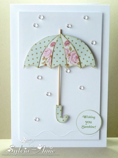 handmade greeting card from Poppy's Papercraft Patch ... theme from challenge Addicted to CAS, code word: water ... paper pieced umbrella ... clear dew drops for water .. sweet and simple ... luv it!!!