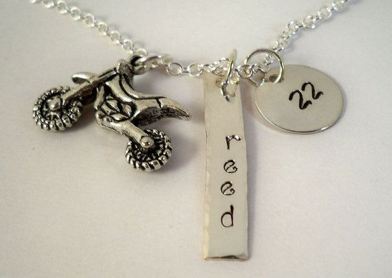 Motocross, Supercross, Hand Stamped Jewelry, Customized with Rider's Name and Number, Silver Filled Metal and Pewter Charm Necklace on Etsy, $17.00