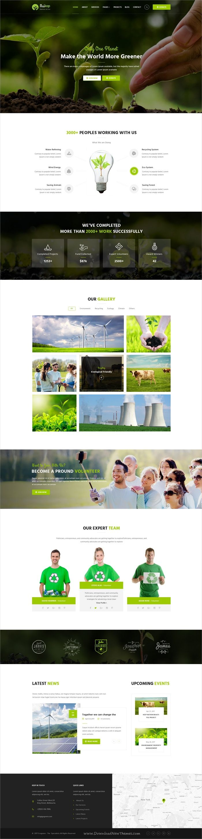 Maikop is clean and modern design #Photoshop #template for go green, #Eco friendly or agriculture business website with 3 homepage layouts and 12 layered PSD files download now..