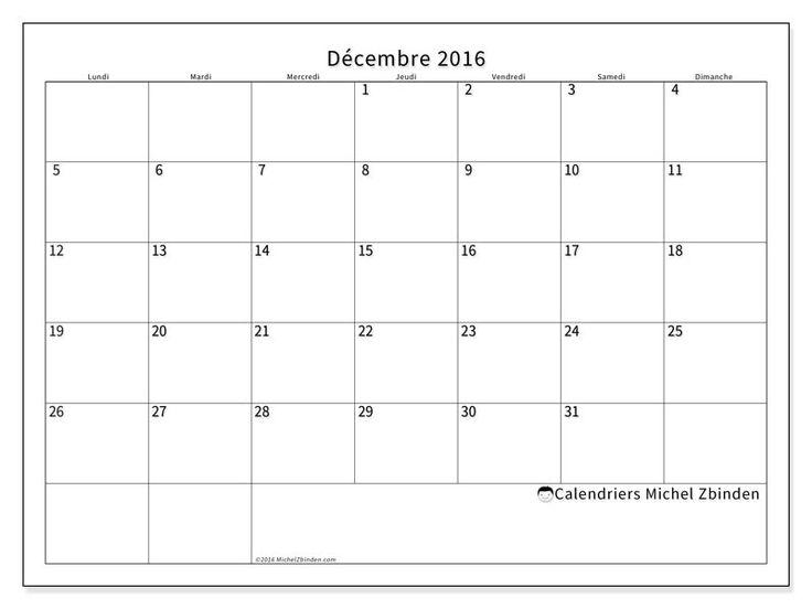 Calendrier décembre 2016 à imprimer, gratuit. Calendrier mensuel : Horus (L). La semaine commence le lundi