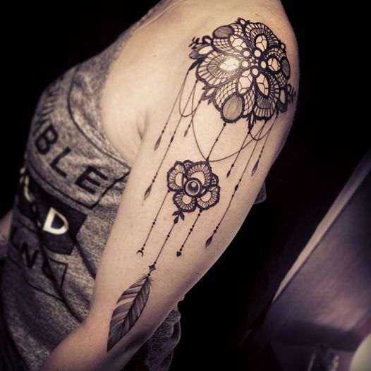 lace tattoo by Miss Voodoo                                                                                                                                                                                 More