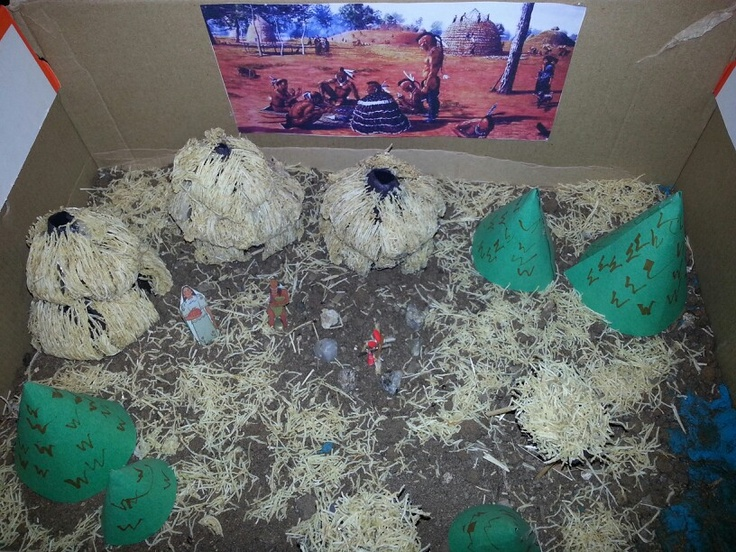 Kitchen Diorama Made Of Cereal Box: Julian's Caddo Indian Project Made From Shredded Wheat