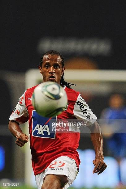 Leandro Salino of SC Braga in action during the Liga Portugal match between SC Braga and CD Nacional at the Estadio Municipal de Braga on September...