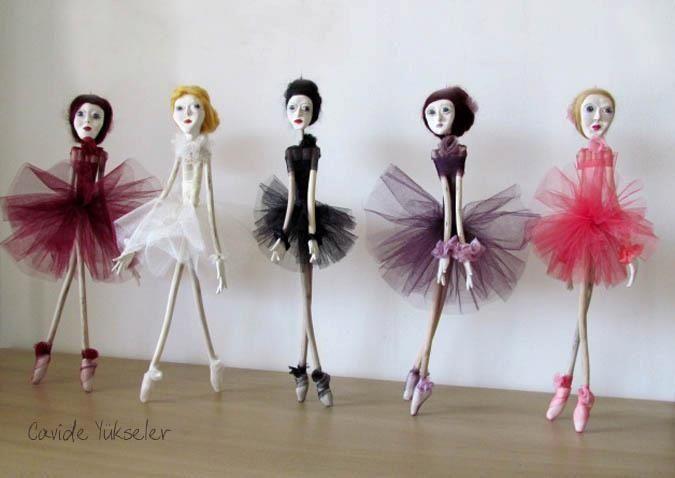 Doll art by Cavide Yukseler #wood #seramik #twig #woman #color #blackswan #ballerina #girl #dancing #design #tasarım #ceramic #art