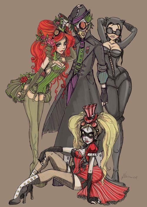 Steampunk comic villains: Steampunk Batman, Cat Women, Harleyquinn, Catwomen, The Jokers, Steam Punk, Dc Comic, Poisons Ivy, Harley Quinn