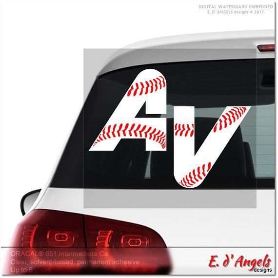 Baseball decal monogram car decal decals funny car decals