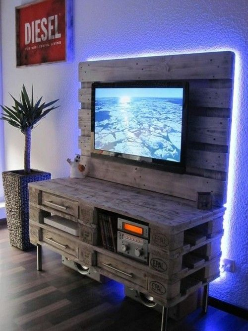 Furniture made of pallets multi media wall TV other equipment