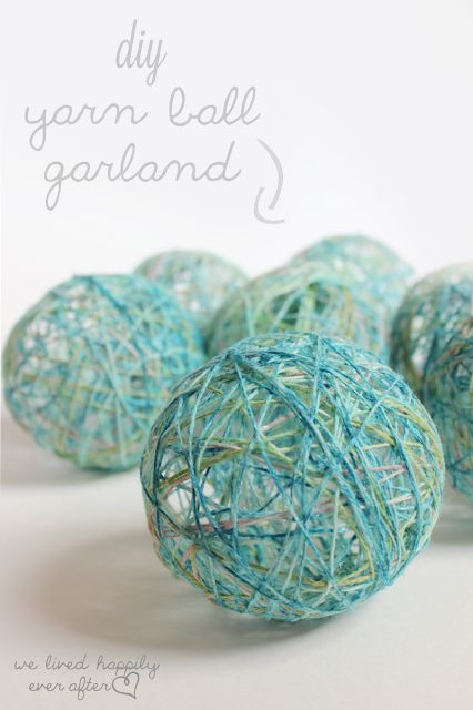 We Lived Happily Ever After: Yarn Ball Garland Tutorial {$55 Little Girl Playroom}